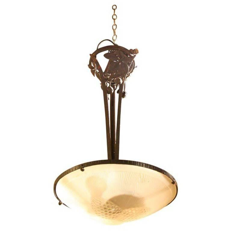 French Forged Iron with Frosted Glass Shade Chandelier For Sale