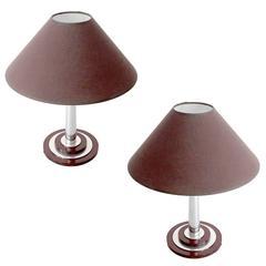 Pair of French Art Deco Bakelite Chrome Table Lamps, 1930s Modernist Design