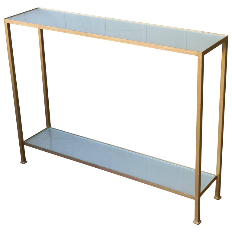 Marcelo Console Table with Sandblasted Glass