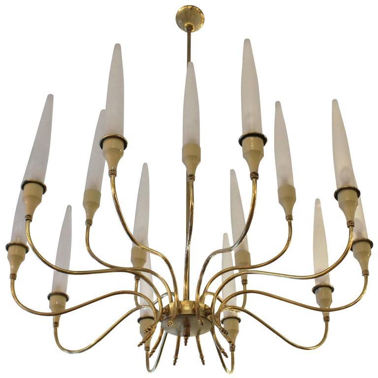 Brass Chandelier in the Manner of Angelo Lelli for Arredoluce 1