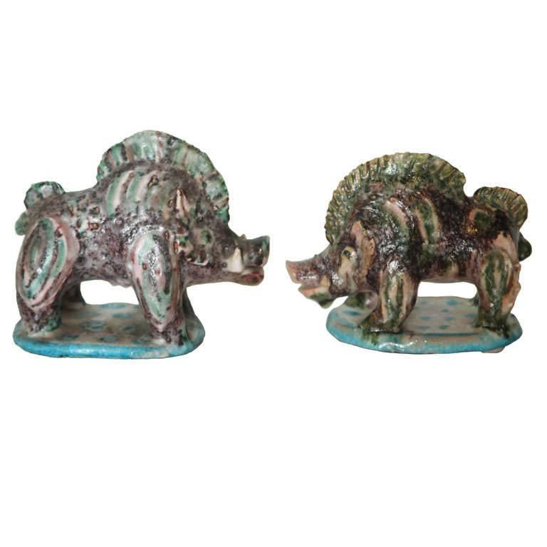 Pair of Gambone Ceramic Boars