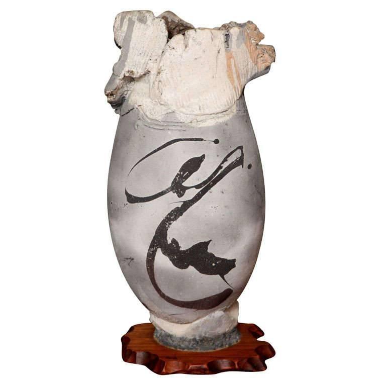 Monumental Paul Soldner Raku Pedestal Vase