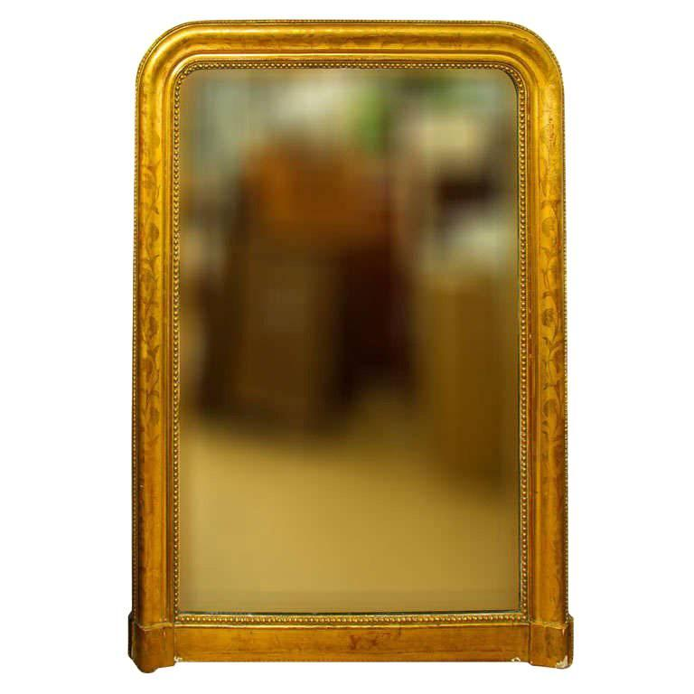 Large Giltwood Louis Philippe Style Wall Mirror with Foliage Detail For Sale