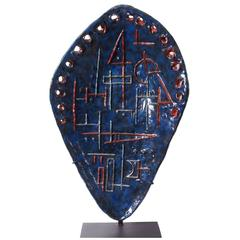 """Etruscan Shield"" Large Ceramic 1950s Sculpture by Marcello Fantoni"