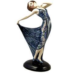 Goldscheider Vienna Posed Lady Dancer Nice Figurine by Josef Lorenzl, circa 1934