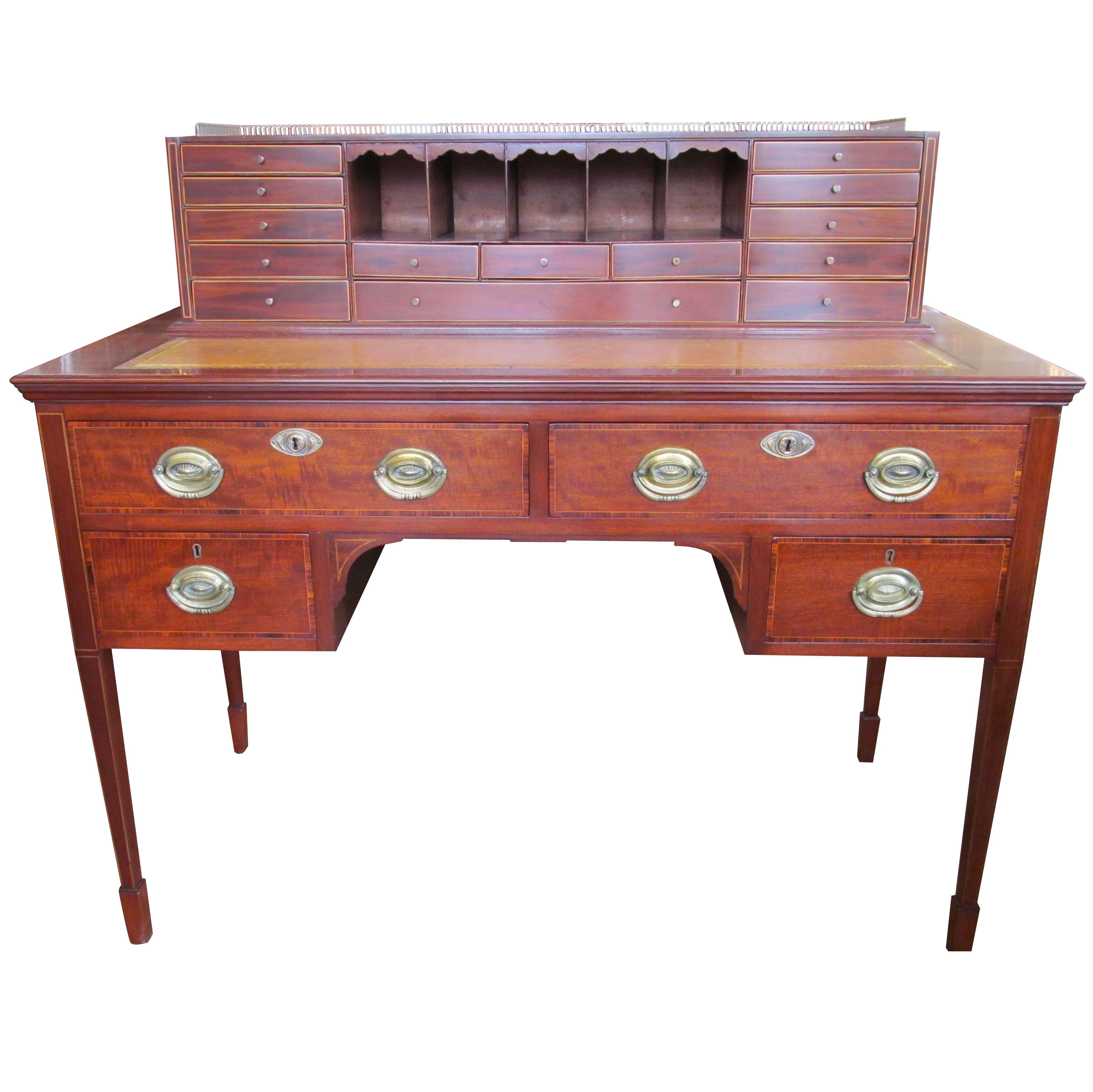 Antique English Mahogany Hepplewhite Style Writing Desk with Original Brasses