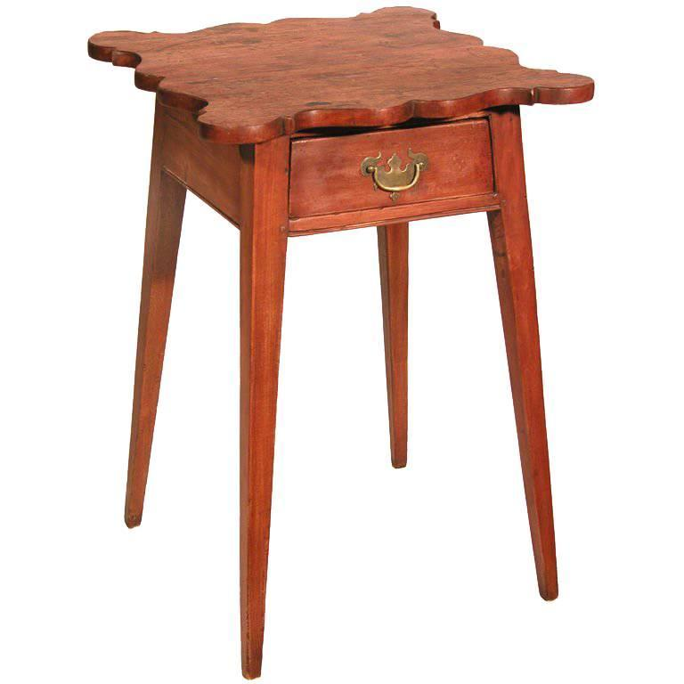 Cherry Country Hepplewhite Bedside Table With Shaped Top, Probably From CT