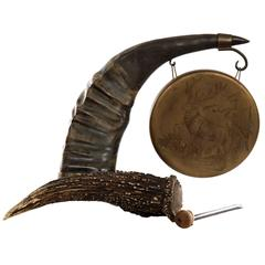 19th Century Red Stag Antler and Water Buffalo Horn Copper Gong