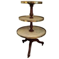 Elegant Three-Tier Walnut, Marble and Brass Circular Server