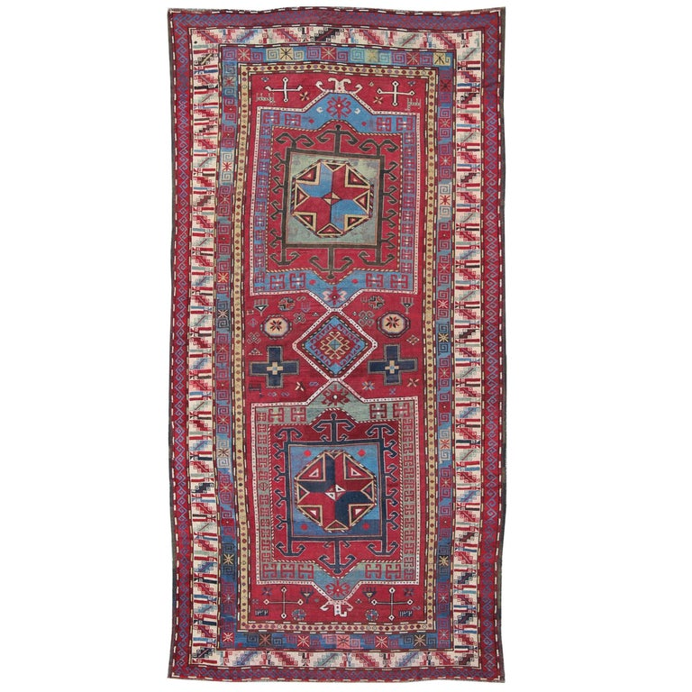 Breathtaking Large Geometric Red 10x12 Bakhtiari Persian: Antique Caucasus Kazak Carpet With Dual Geometric