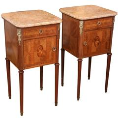 Pair of French Bedside Cabinets, 20th Century Kingwood with Marble Tops