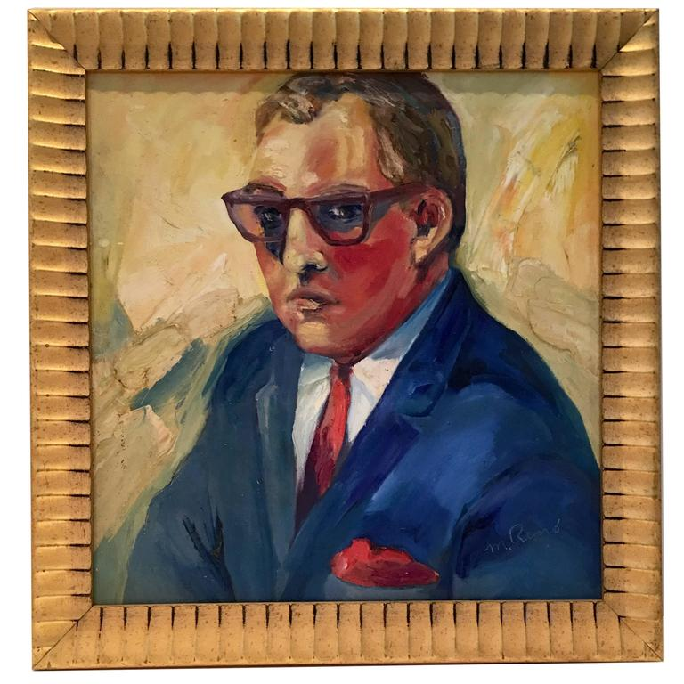 "Mid-Century Oil on Canvas Painting ""Man"" Portrait by, M. Remo"