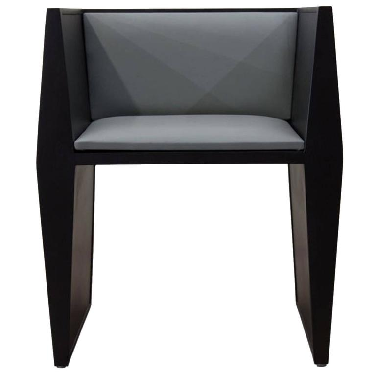 Sentient Sapience Chair in Black Lacquer and Steel Blue Vinyl Upholstery