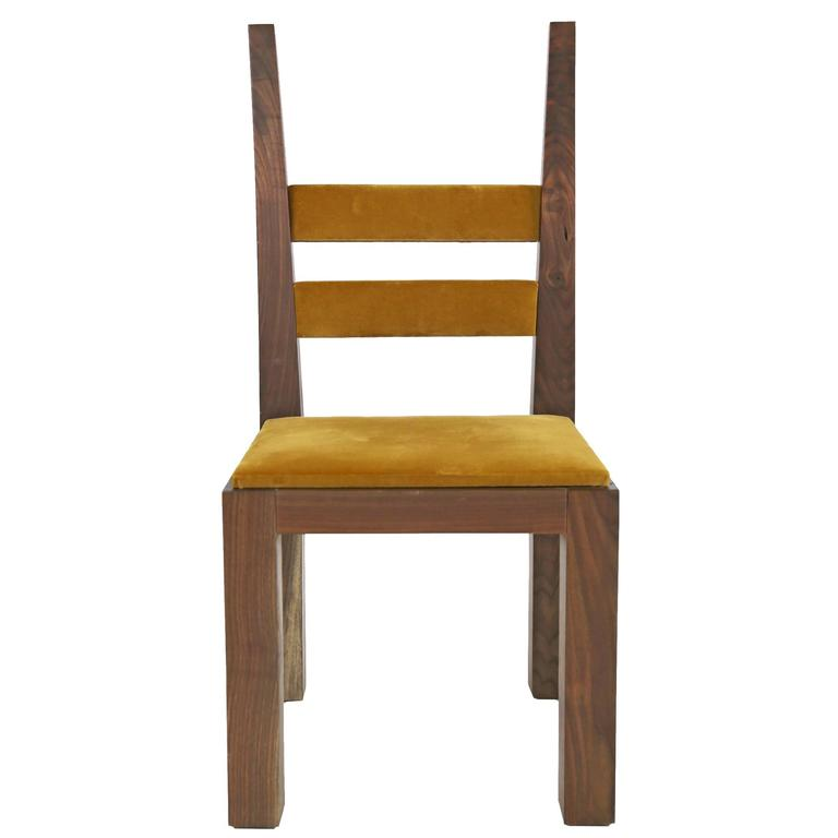Sentient DC-01 Dining Chair in Walnut with Gold Velvet Upholstery