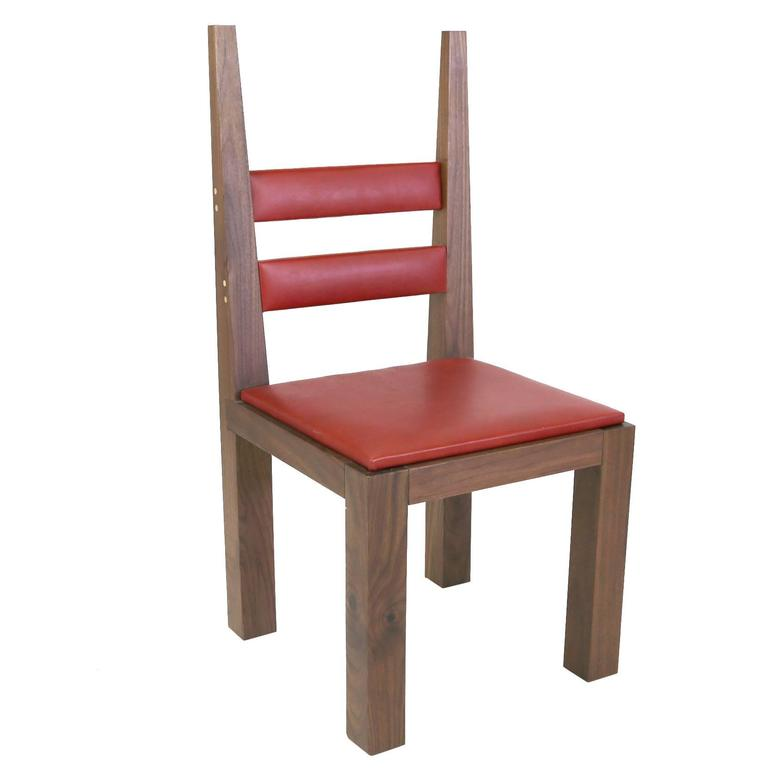 Sentient DC-01 Dining Chair in Walnut with Red Leather Upholstery