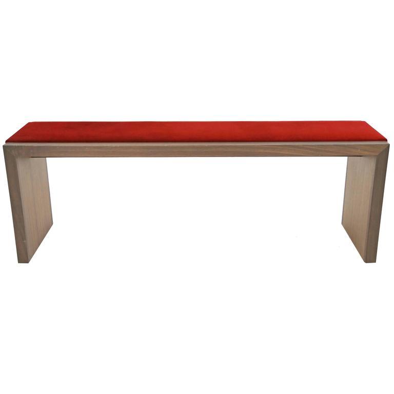 Sentient Walnut Bench with Red Velvet Upholstery