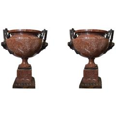 Pair of Rough Marble and Bronze Planters