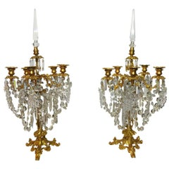 French 19th Century Ormolu and Baccarat Crystal Pair of Candelabras