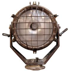 1930s Adjustable Large Brass Ship Spotlight with Wire Cage