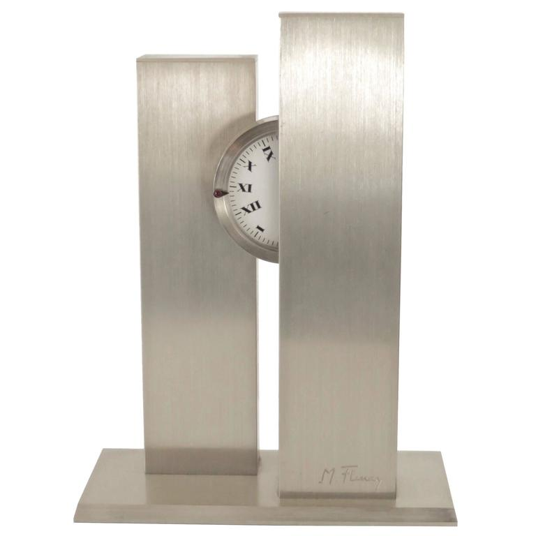 French Sculptural c1970s Stainless Steel Clock by Michel Fleury