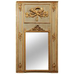 Louis XVI Period Painted & Parcel-Gilt Trumeau Mirror with Neoclassical Carvings