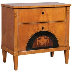 Petite 19th Century Biedermeier Commode with Inlay and Two Drawers, circa 1820