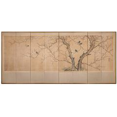 Korean Screen Early Spring Painting of Cherry Blossoms and Starling-Type Birds