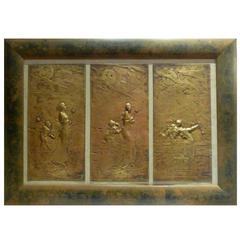 Gustave-Joseph Chéret, an Art Nouveau Patinated Bronze Triptych, Signed
