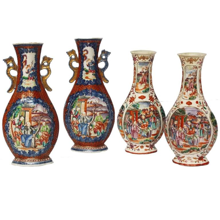 Two Pairs, 18th Century Mandarin Pallet Chinese Export Vases