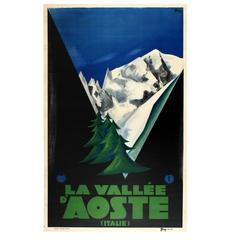 Original Vintage 1931 ENIT Travel Advertising Poster for The Aosta Valley, Italy