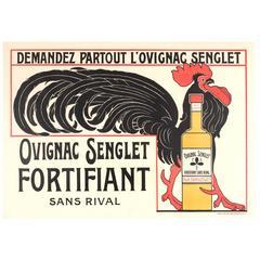 Original Vintage 1920s Advertising Poster for a Cognac Drink, Ovignac Senglet