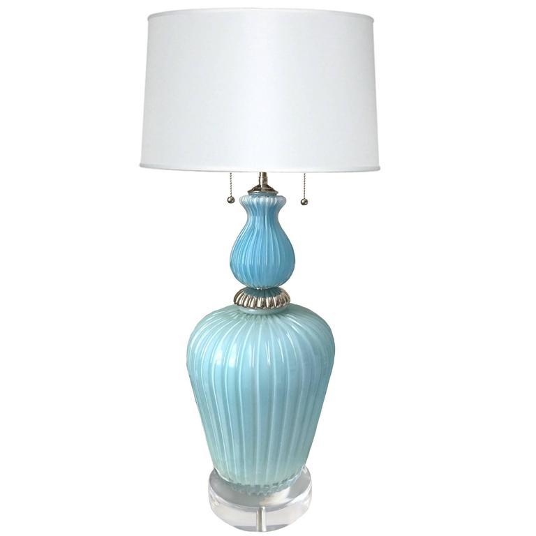 Large Mid-Century Barovier & Toso Murano Light Blue Lamp