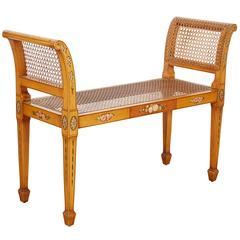 Adam Style Satinwood and Caned Window Seat