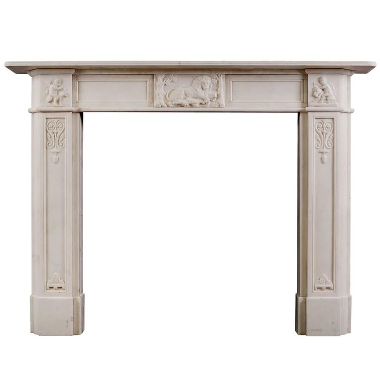 English Regency Fireplace in Statuary Marble