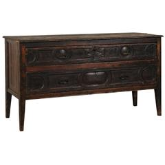 Grand 18th Century Spanish Two-Drawer Console Table/Server