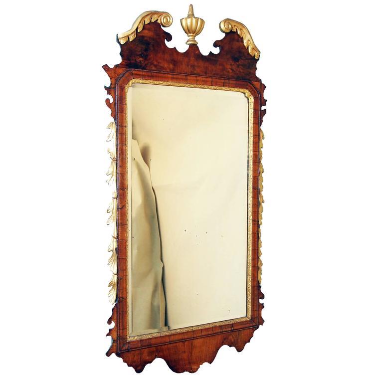 Antique Georgian Walnut and Gilt Mirror
