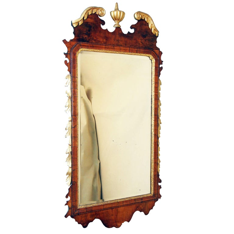 Antique Georgian Walnut and Gilt Mirror