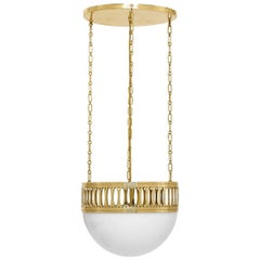 Wiener Werkstätte Chandlier/Ceiling Lamp made of Brass and Opaline glass 35cm DM
