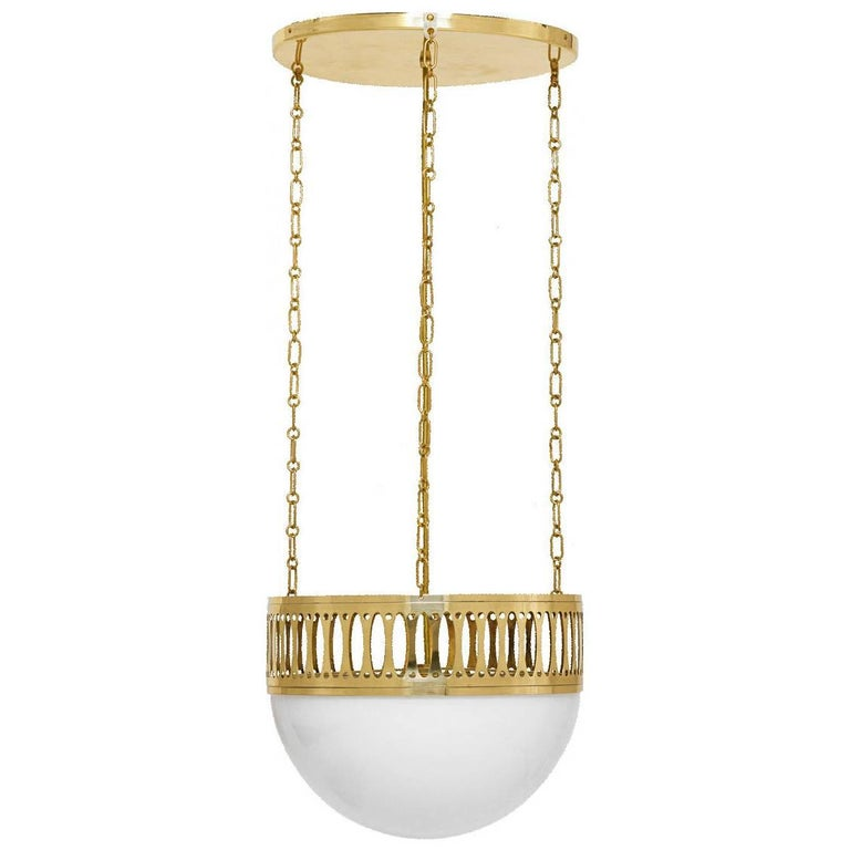 Wiener Werkstätte Chandlier/Ceiling Lamp made of Brass and Opaline glass 35cm DM For Sale