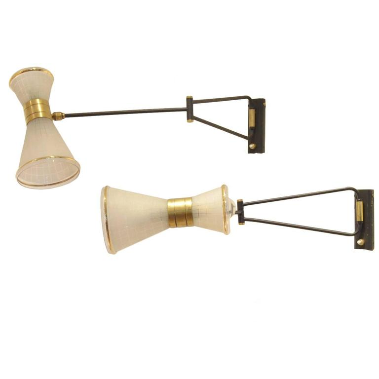 Modern Brass Wall Lamps : Two Mid-Century Modern French Design Brass and Glass Wall Lamps Sconces at 1stdibs