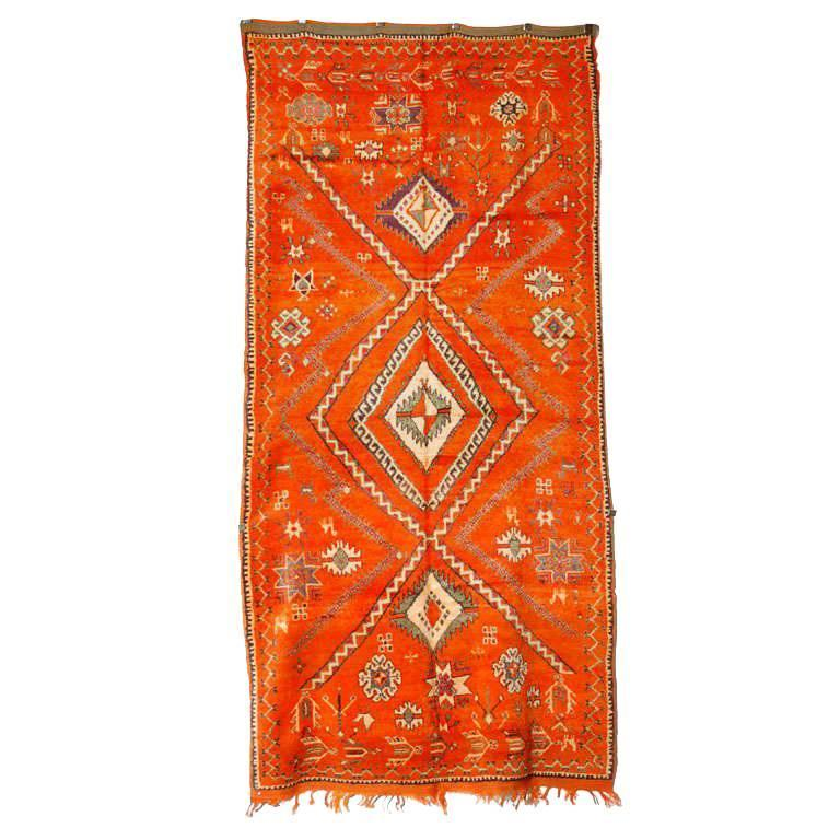 Moroccan Vintage Orange Color Tribal Rug At 1stdibs