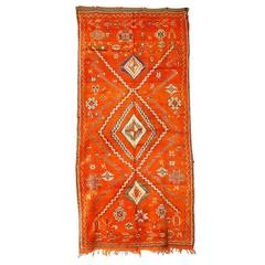 Moroccan Vintage Orange Color Tribal Rug