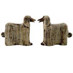 Lisa Larson Ceramics, Two Afghan Dogs, Afghan Hound