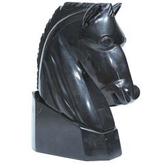 Horse Head Sculpture, Marble Black Elegant, the Base is Incorporated