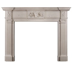 Georgian Style White Marble Chimneypiece with Rams Head to Centre Plaque