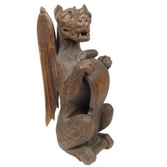 Rare 19th Century Carved Wood Figure of a Dragon Holding a Shield