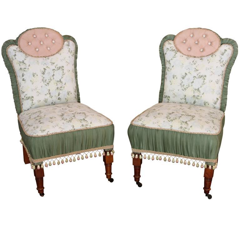 Pair of Antique Custom Upholstered Slipper Chairs For Sale - Pair Of Antique Custom Upholstered Slipper Chairs For Sale At 1stdibs