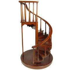 19th Century Mahogany Architectural Spiral Staircase Model