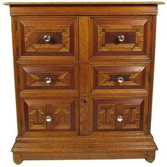 Antique Carved Oak Lift Top Cabinet Chest with Original Mercury Glass Knobs