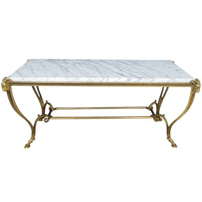 Elegant French Maison Bagues Gilt Bronze Coffee Table For Sale
